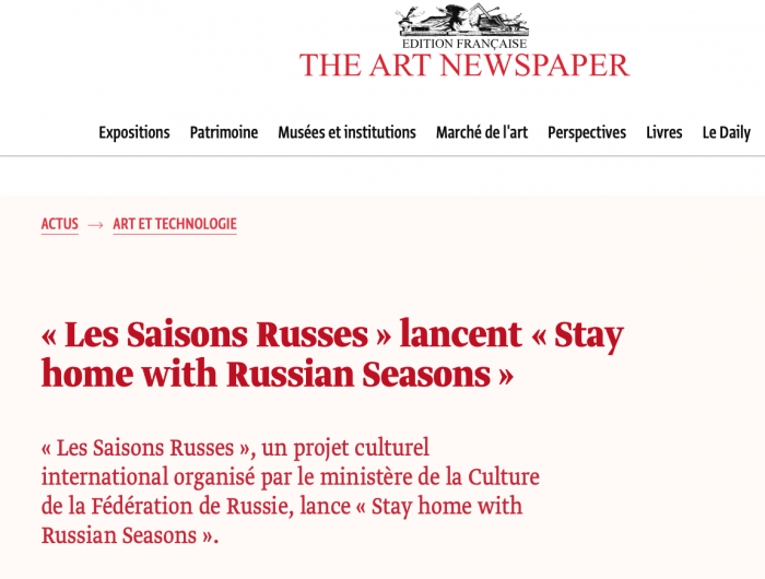 « Les Saisons Russes » lancent « Stay home with Russian Seasons »